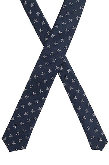 男士飞机图案印花桑蚕丝领带,  410_海军蓝色