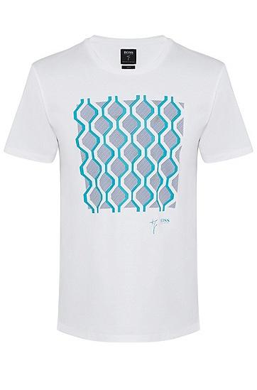 男士商务休闲印花个性短袖T恤,  100_白色