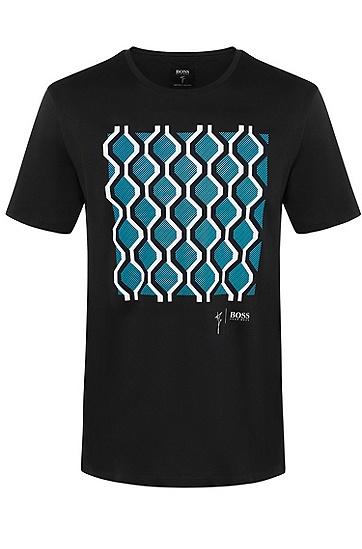 男士商务休闲印花个性短袖T恤,  402_暗蓝色