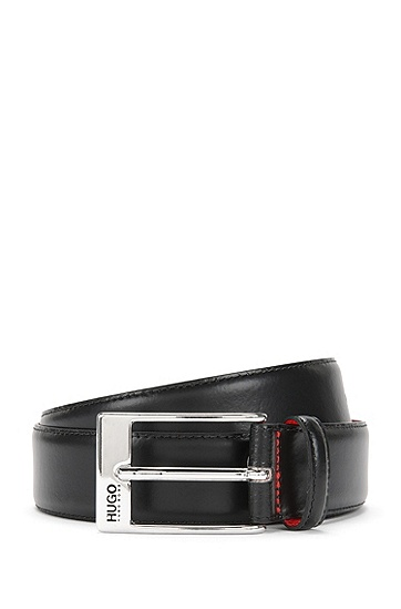 Leather belt with square clasp: 'BARNEY', Black