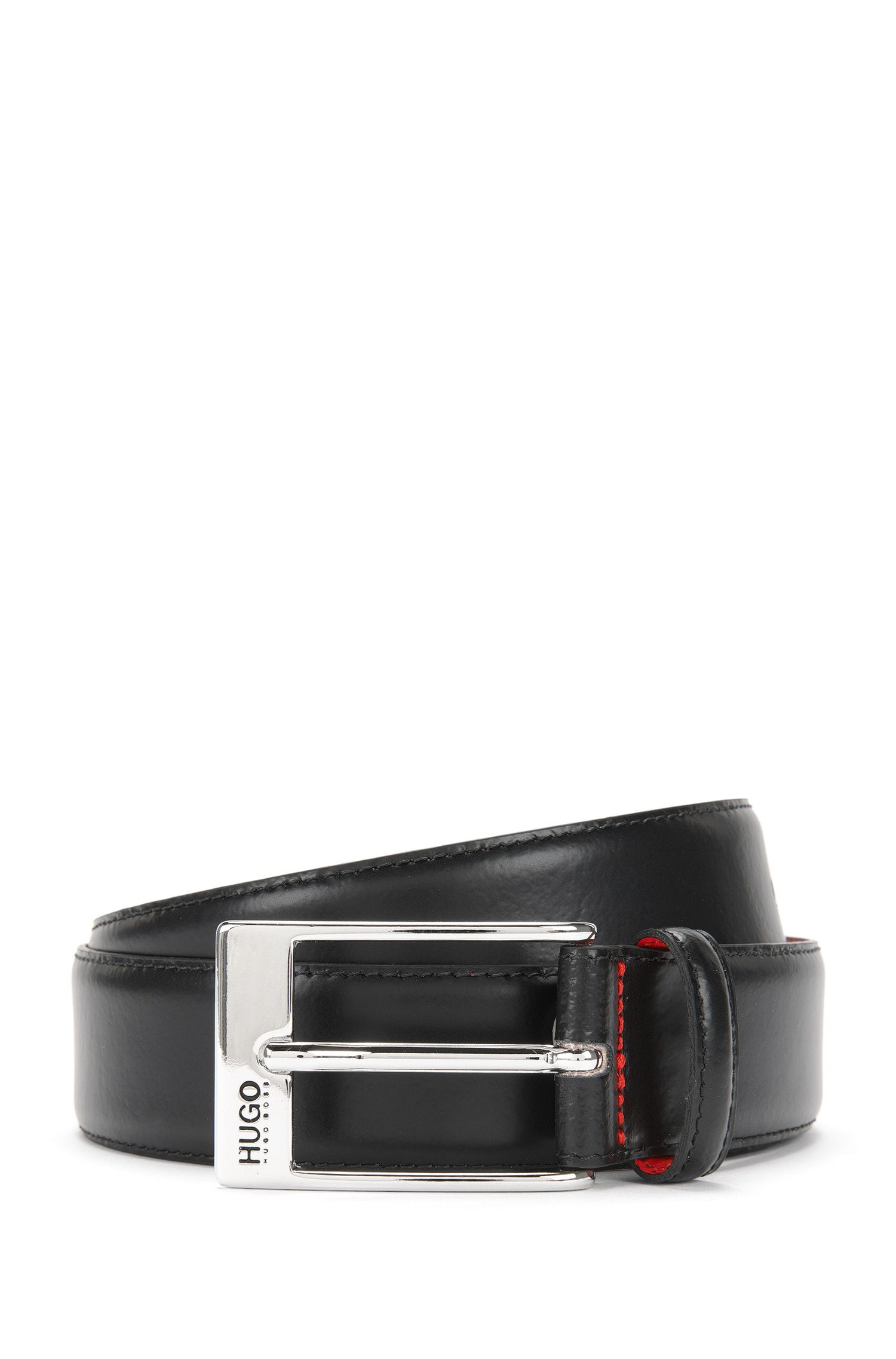 Leather belt with square clasp: 'BARNEY'