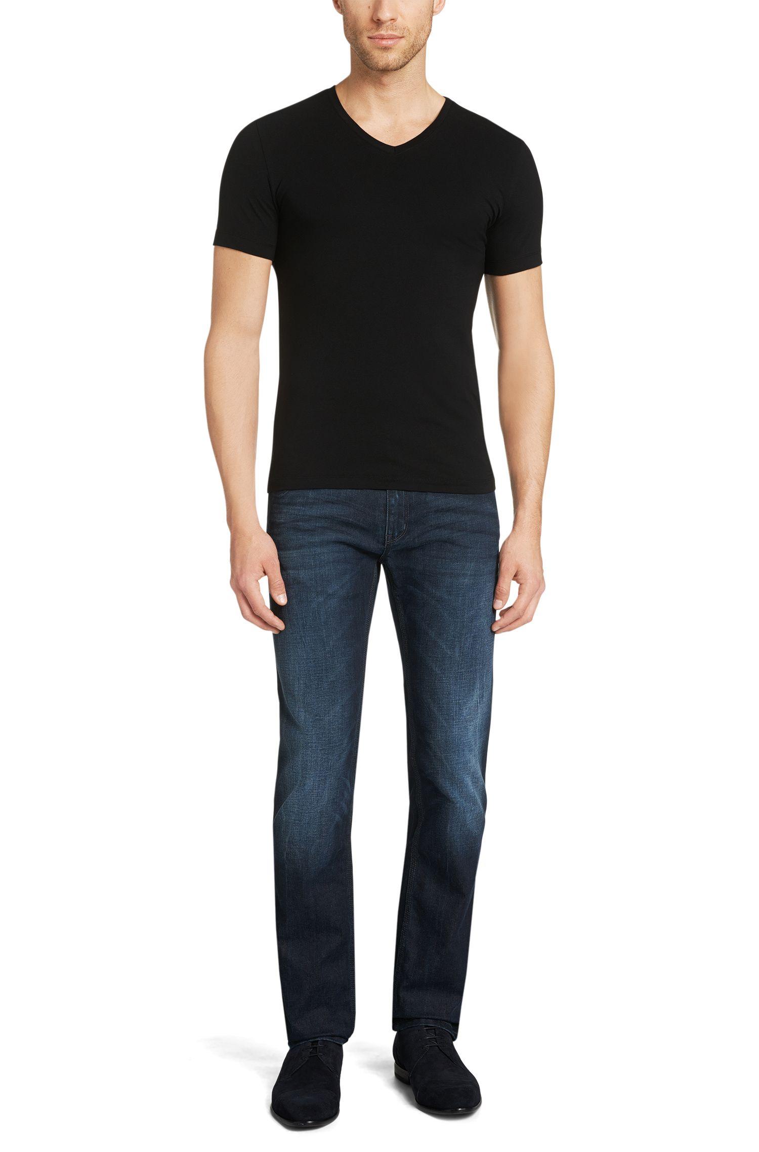 T-shirt en lot de deux, en coton extensible: «Double V-Stretch»