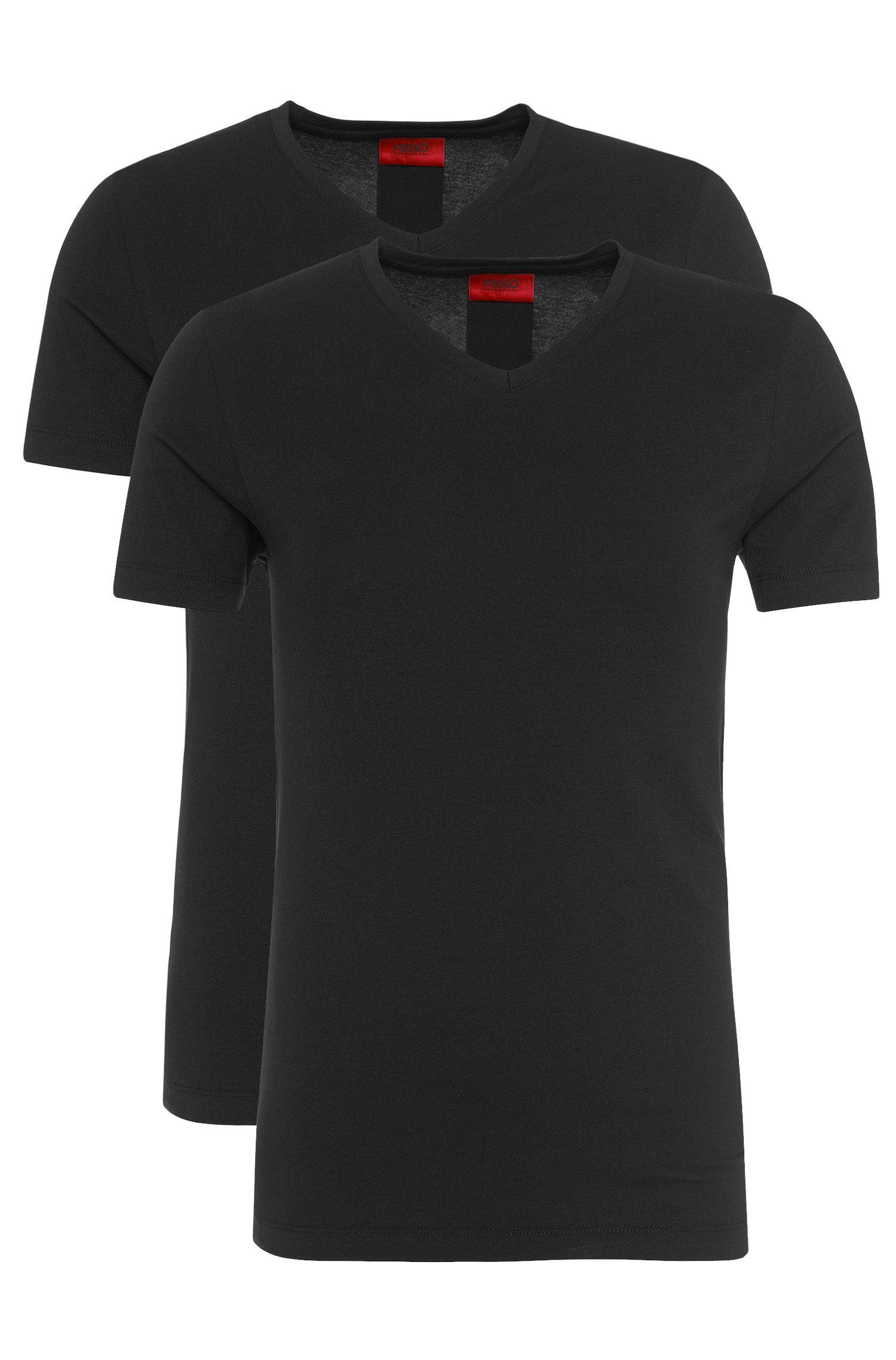 Doppelpack T-Shirts aus elastischer Baumwolle: 'Double V-Stretch'