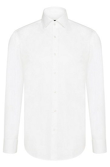 常规版棉质商务衬衫,  100_白色