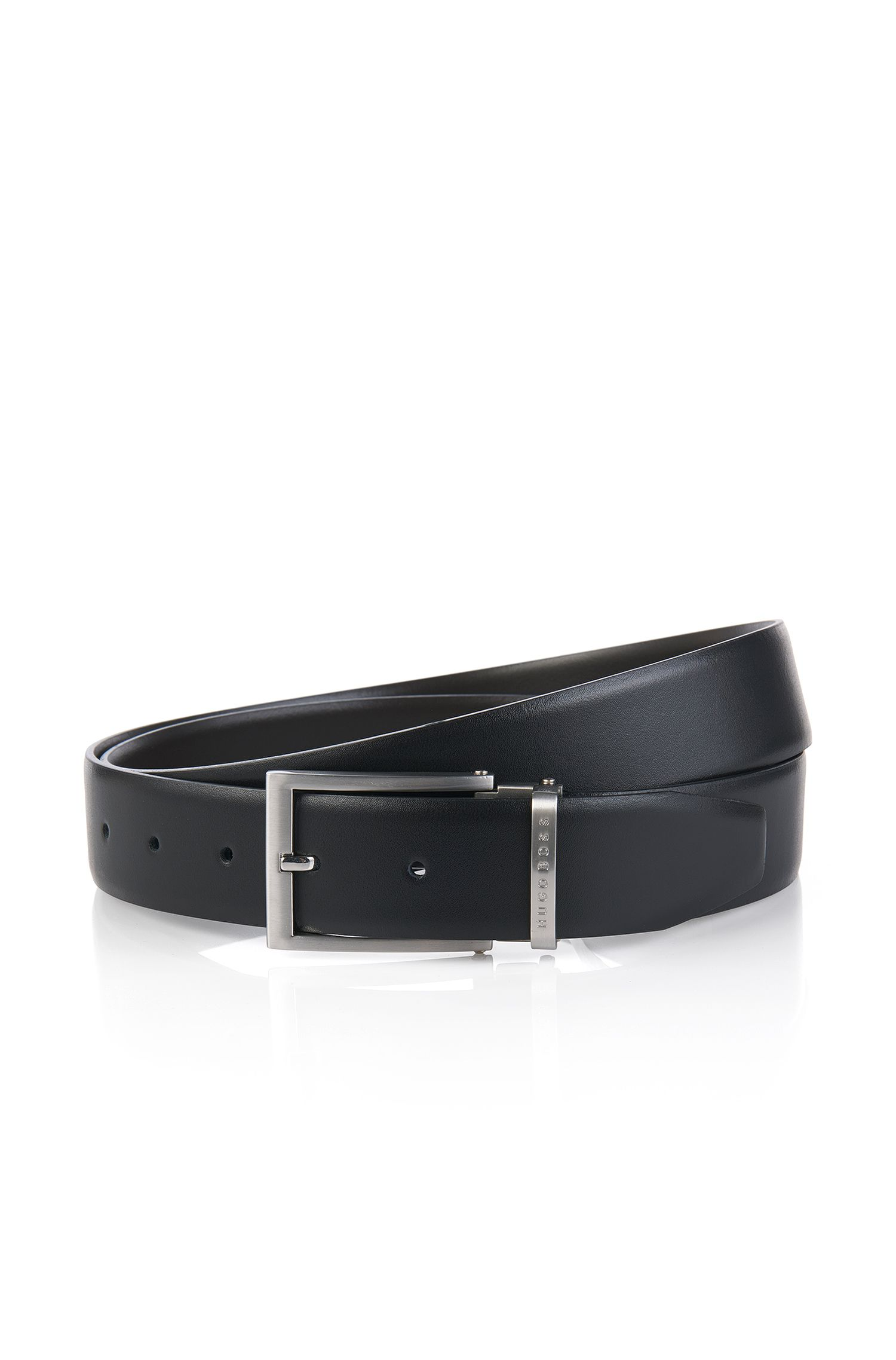 Reversible belt in smooth leather: 'OLARIO-CN'