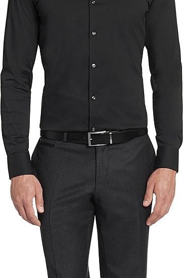 双面光滑皮革腰带:' OLARIO-CN',  002_黑色