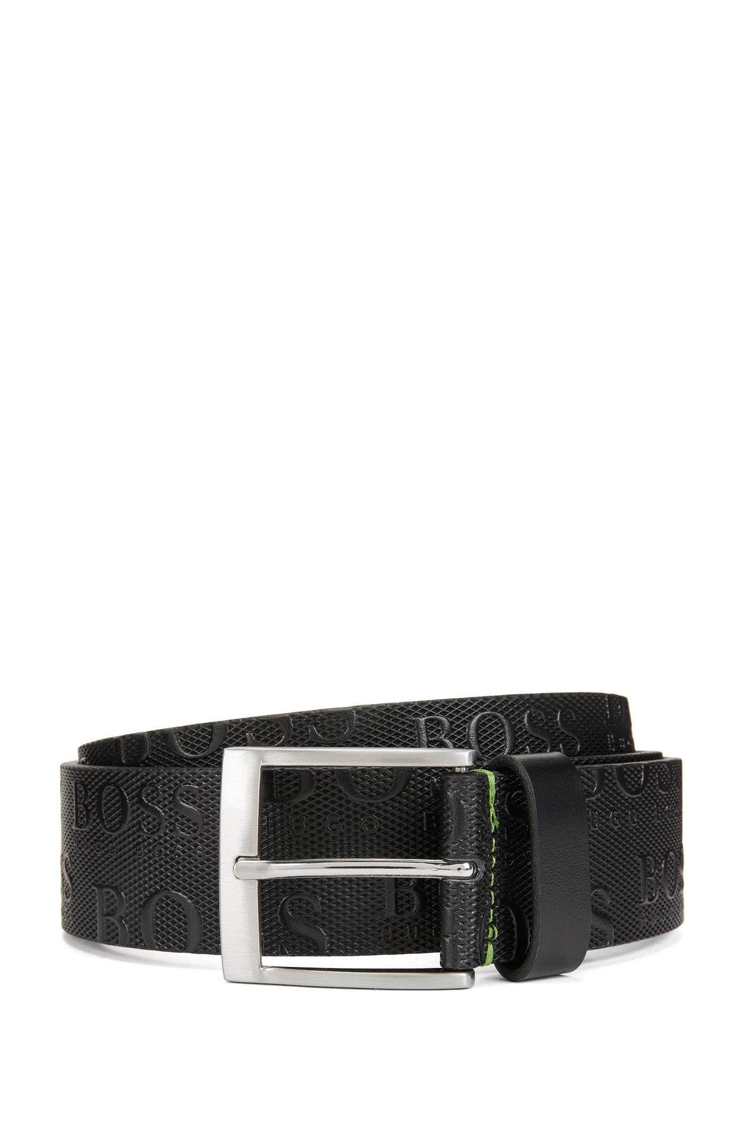 Leather belt with embossed logos: 'TORIALO'