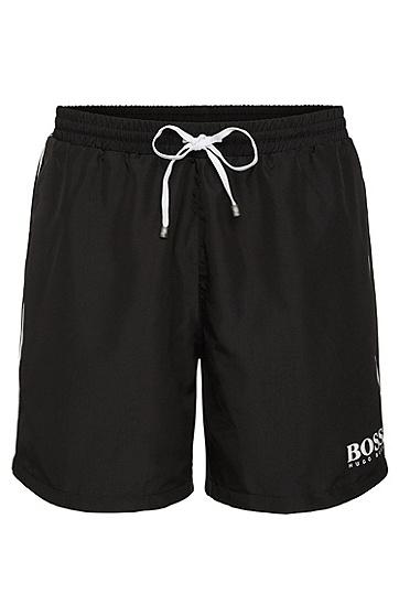 饰以logo细节的拉绳泳裤,  007_黑色