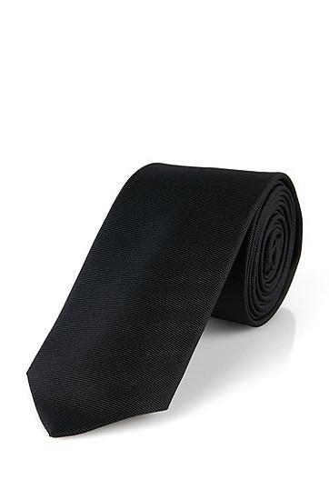 Smalle, fijngeribde stropdas van zijde: 'Tie 6 cm', Zwart