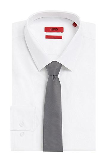 Cravate en soie étroite finement côtelée: «Tie6cm», Anthracite