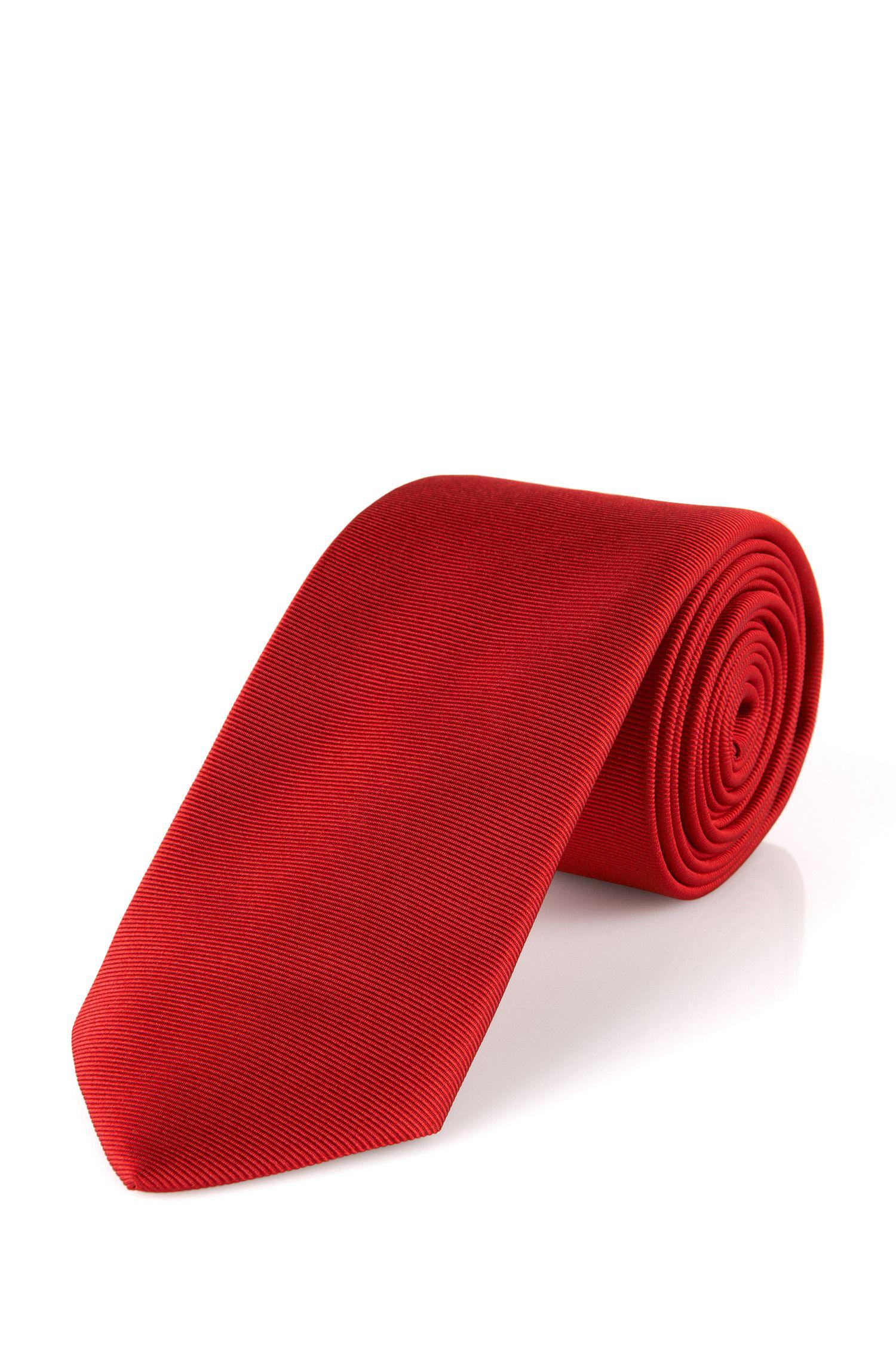 Smalle, fijngeribde stropdas van zijde: 'Tie 6 cm'