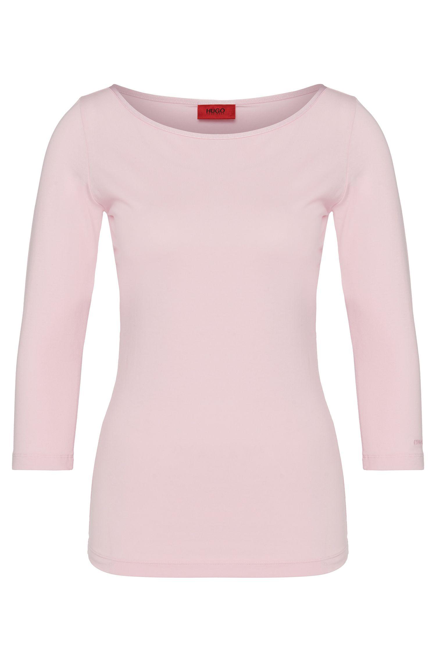 T-shirt in cotone elasticizzato tinta unita: 'Dannala'