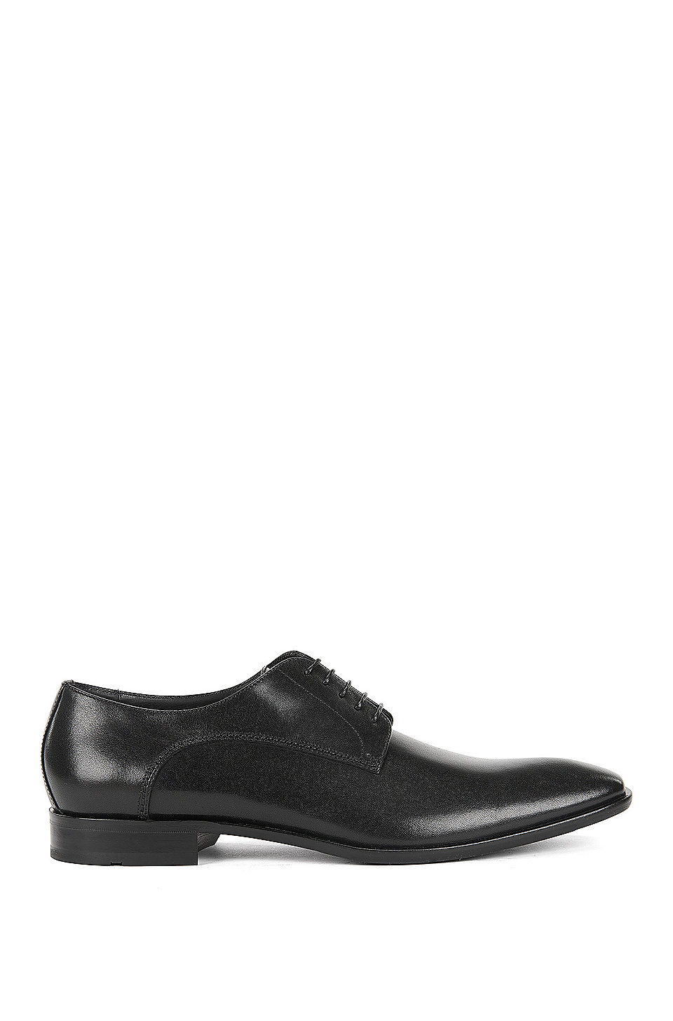 Leather Oxford shoes with antique finish, Black