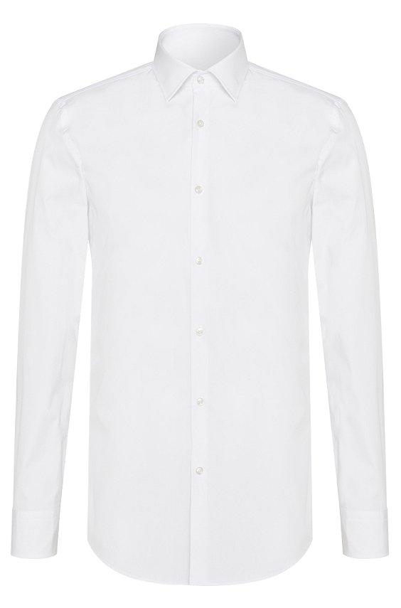 窄肯特领修身商务衬衫 Jenno, 100_白色