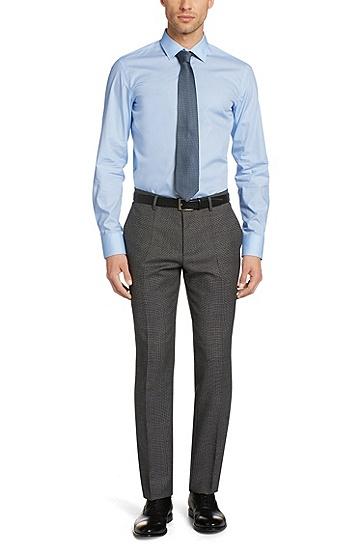 窄肯特领修身商务衬衫,  461_淡蓝色