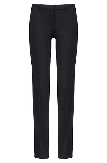 Unifarbene Bügelfaltenhose aus Stretch-Schurwolle: 'Hinass-5', Schwarz