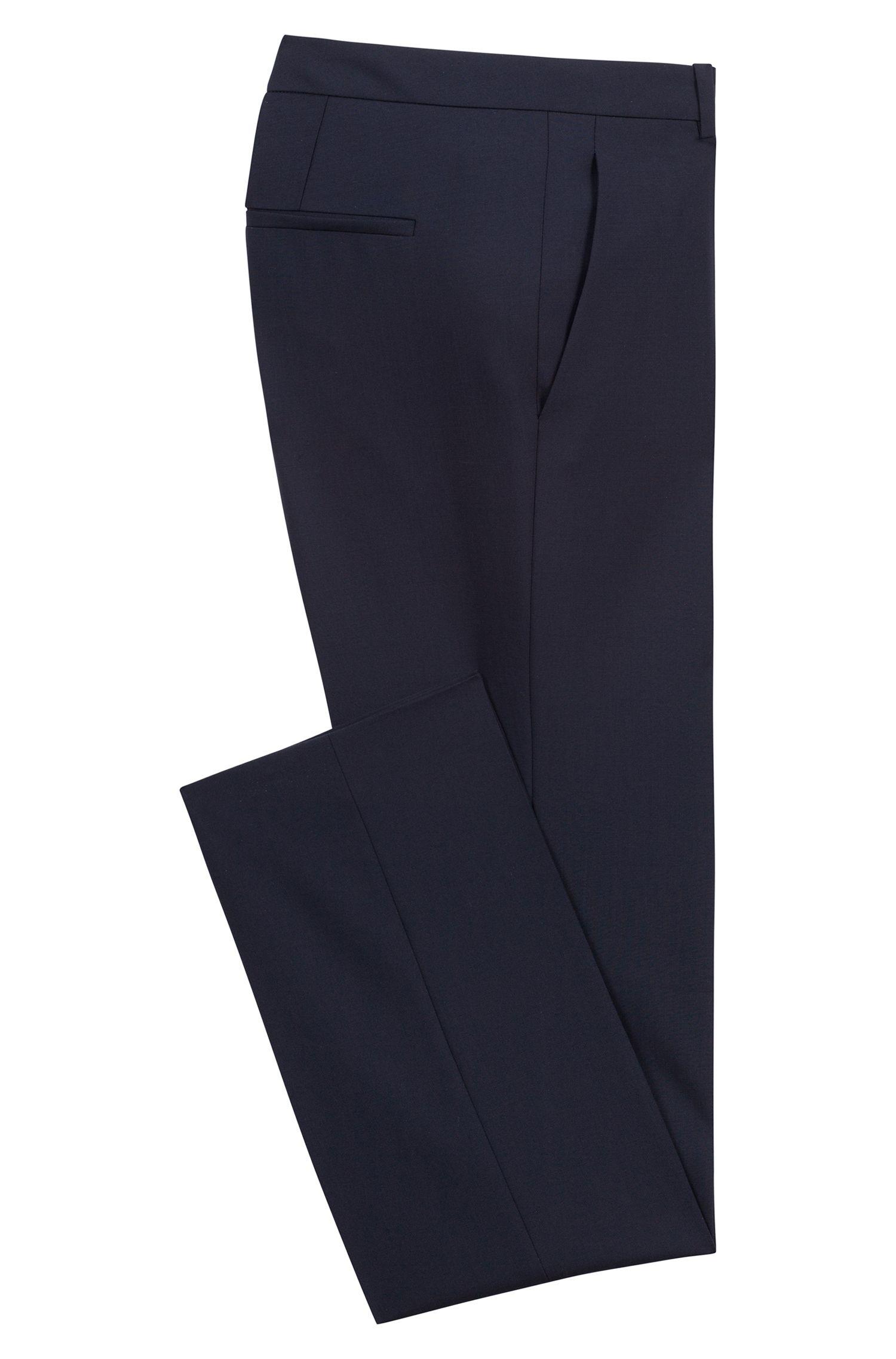 Effen pantalon van scheerwol met stretch met scherpe vouwen: 'Hinass-5'