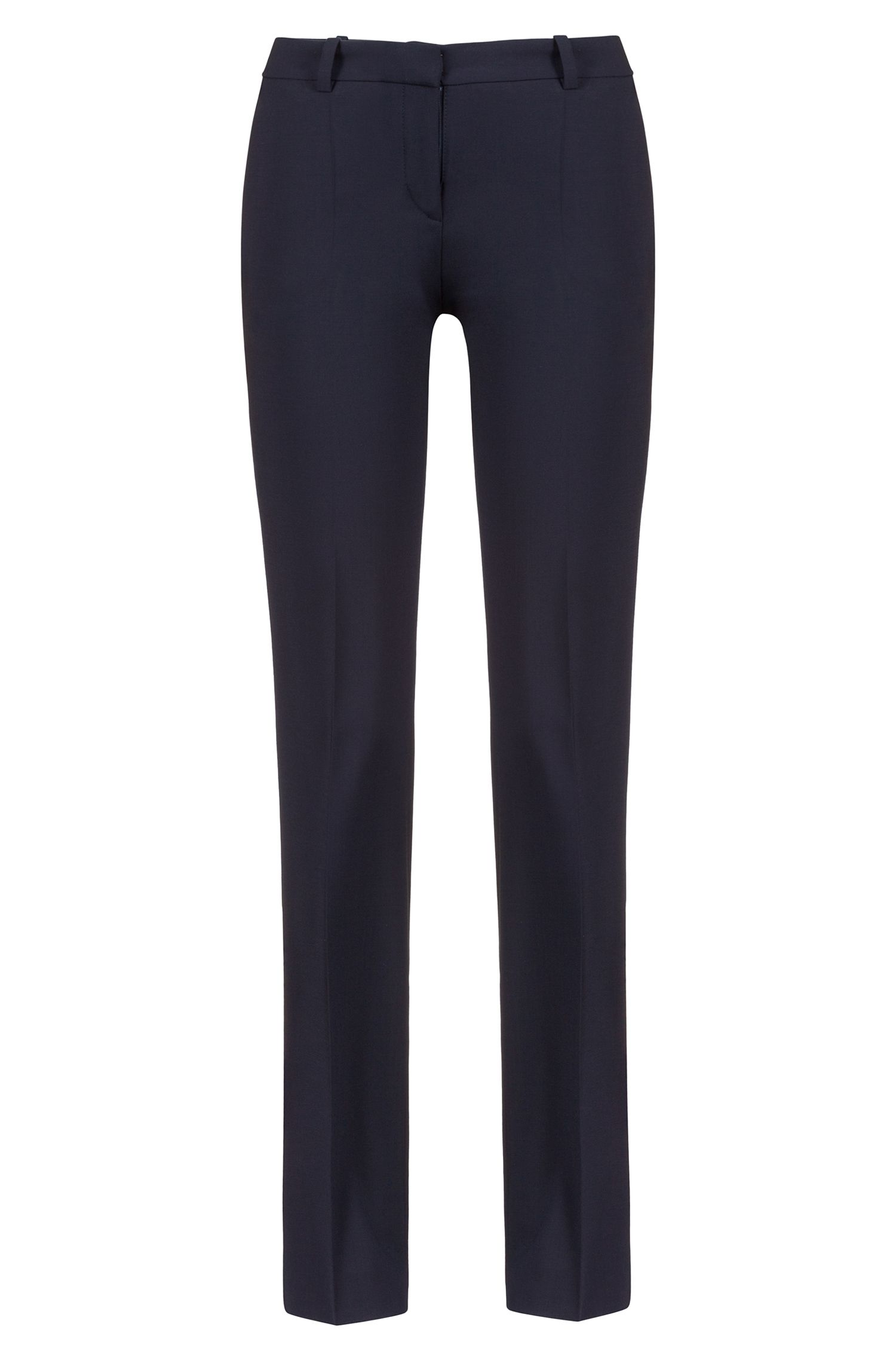 Pantalon HUGO Femme Regular Fit habillé, en laine vierge stretch