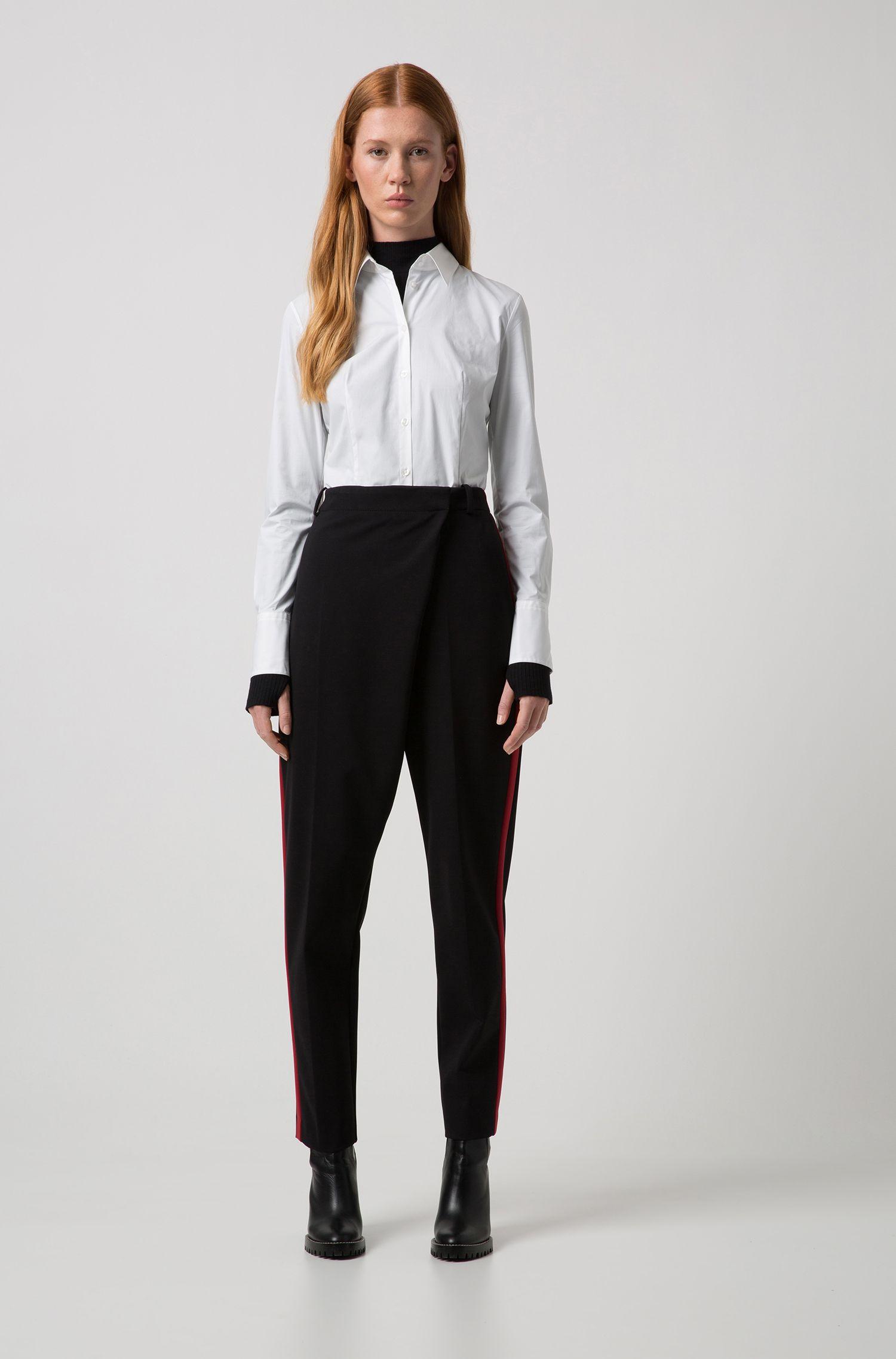 Effen blouse van stretchkatoen: 'Etrixe1'