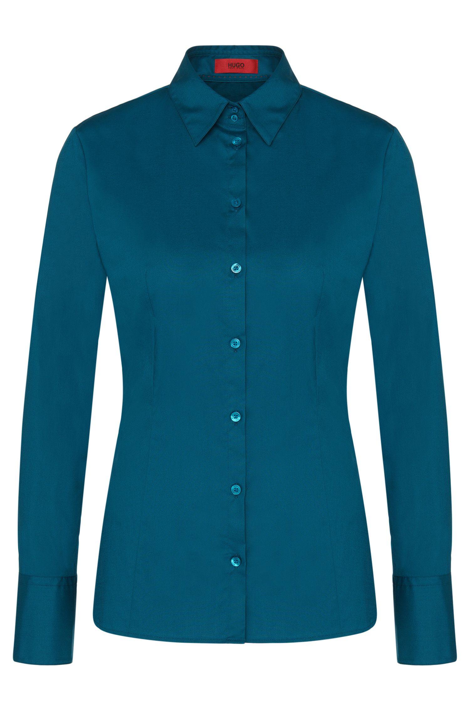 Unifarbene Hemdbluse aus Baumwoll-Mix: 'Etrixe1'
