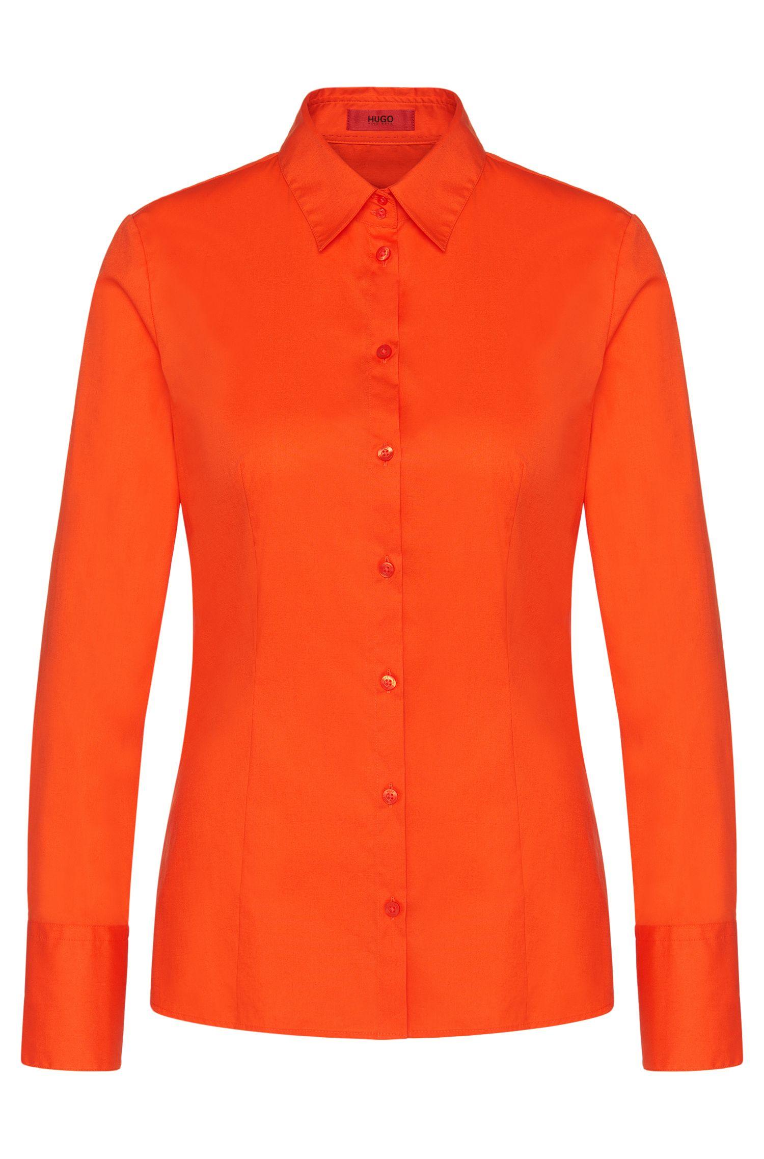 Slim-fit blouse van stretchkatoen van HUGO Woman