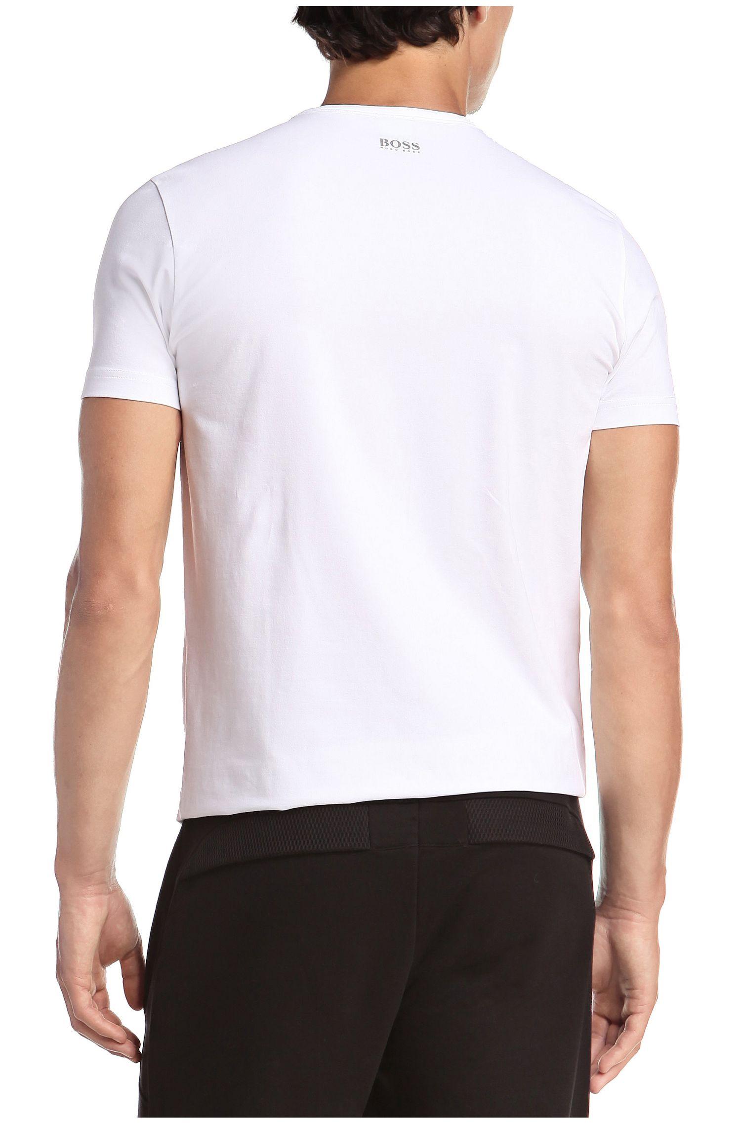 T-shirt 'Tee US' van een mix van katoen en elastaan
