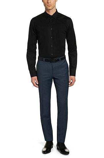 Slim-Fit Hemd aus Stretch-Baumwolle: 'Elisha', Schwarz
