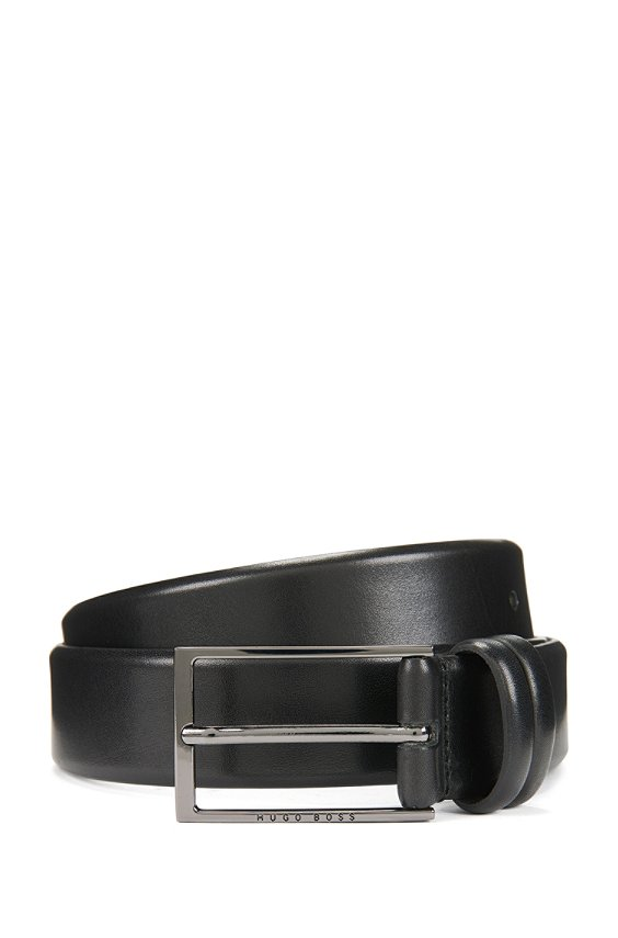 Leather belt with double belt loop: 'Carmello', 001_Black