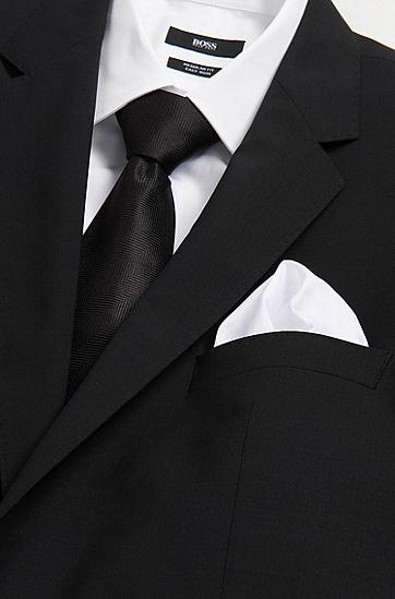 纯棉素色方巾:'Pocket square 33x33',  100_白色