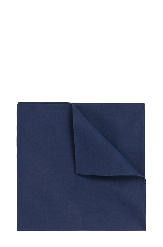 Plain pocket square in pure cotton: 'Pocket square 33x33', 401_Dark Blue