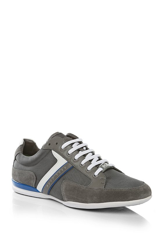 Sneakers with leather trim: 'Spacit', Grey