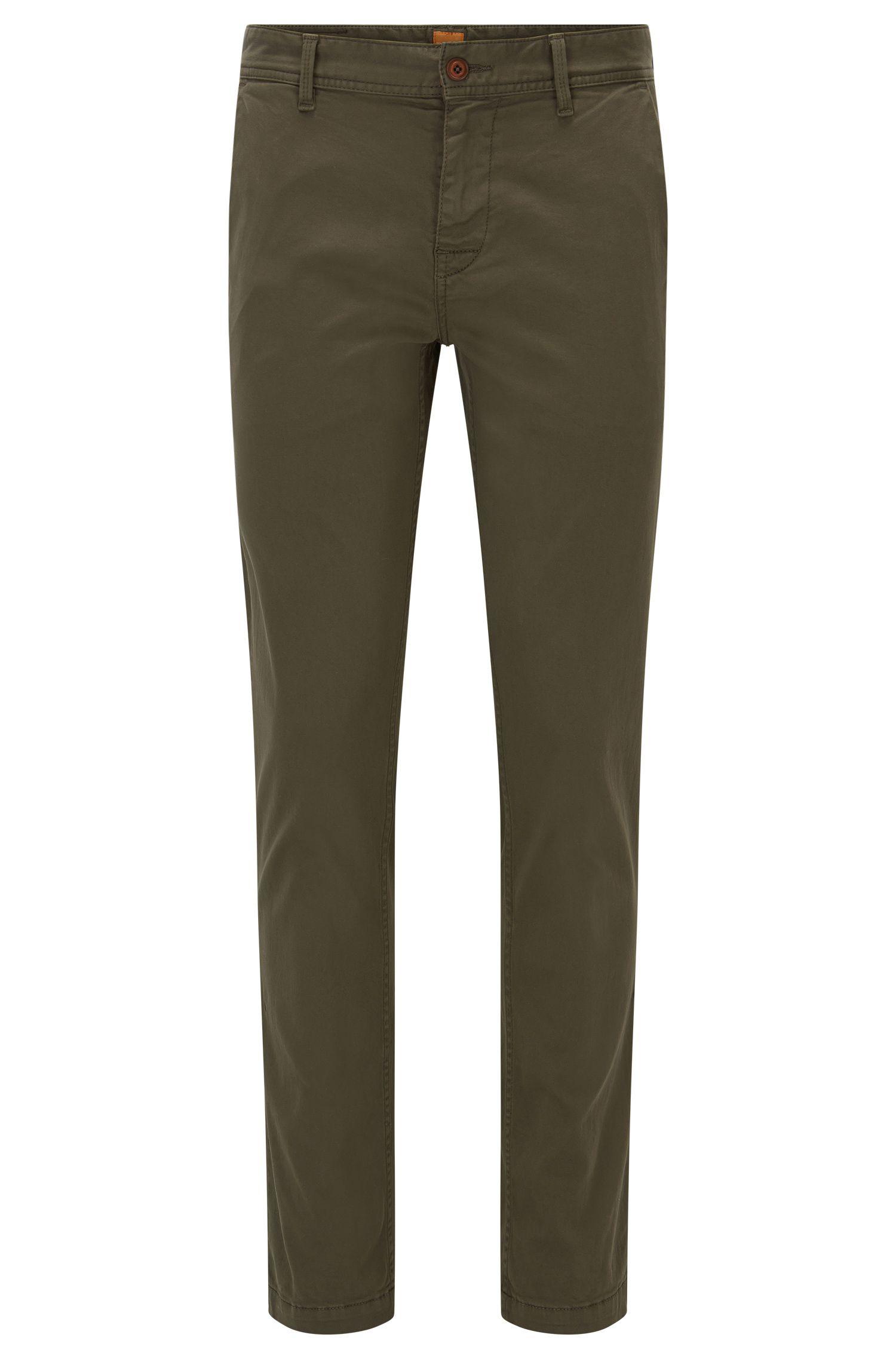 Chino BOSS Orange Slim Fit en coton stretch brossé