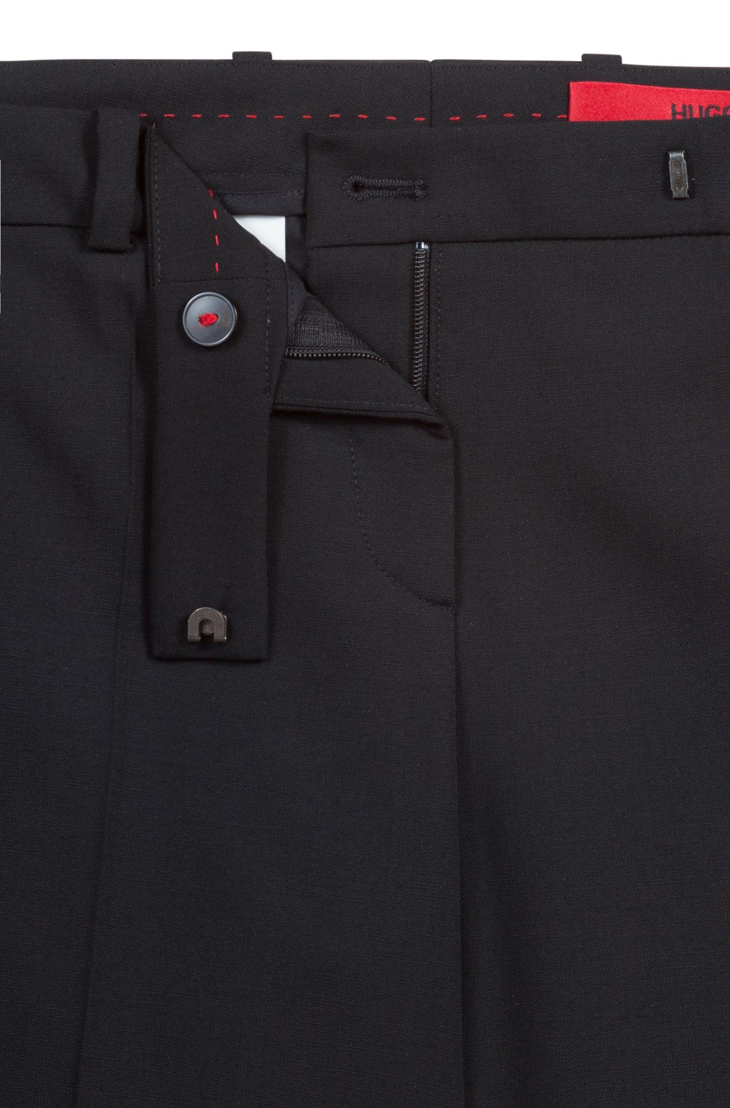 Slim-fit broek van een elastische scheerwolmix: 'Harlie-3'