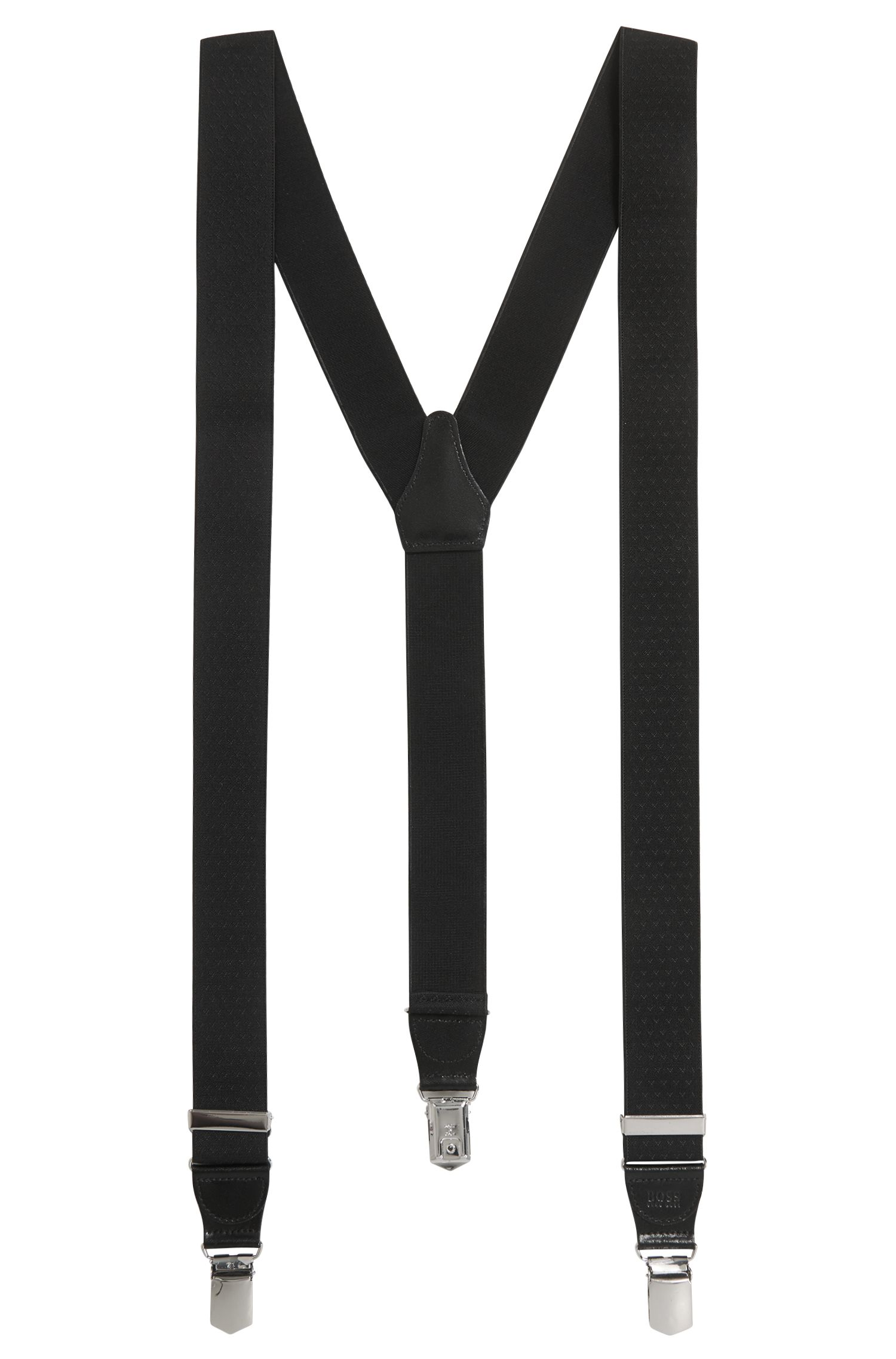 Hosenträger mit Clips und Leder-Besätzen