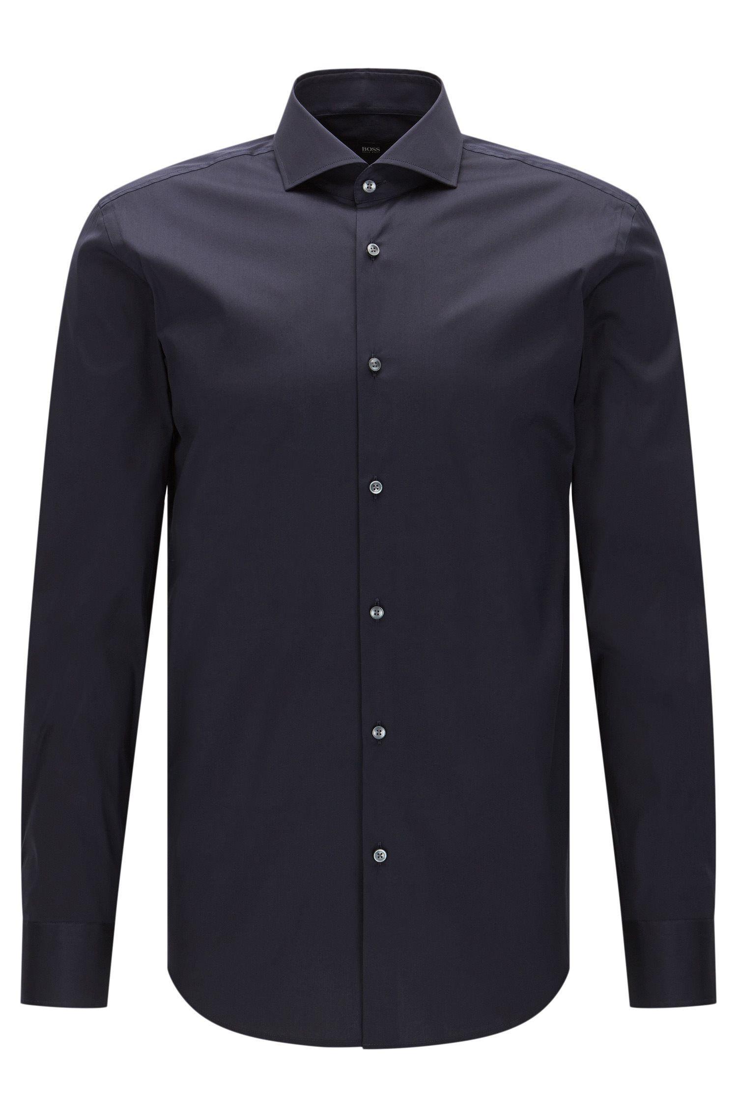 Slim-fit overhemd van een elastische katoenmix: 'Jason'