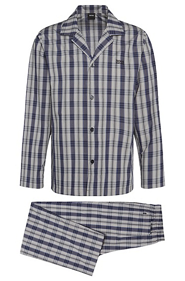 Gemusterter Pyjama aus Baumwolle: 'Pyjama 1', Hellgrau