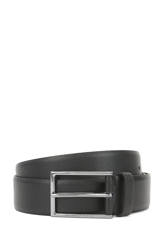 Finely textured leather belt: 'Carmello-S', 001_Black