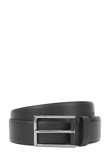 饰有浮雕式压花细节的皮革腰带,  001_黑色