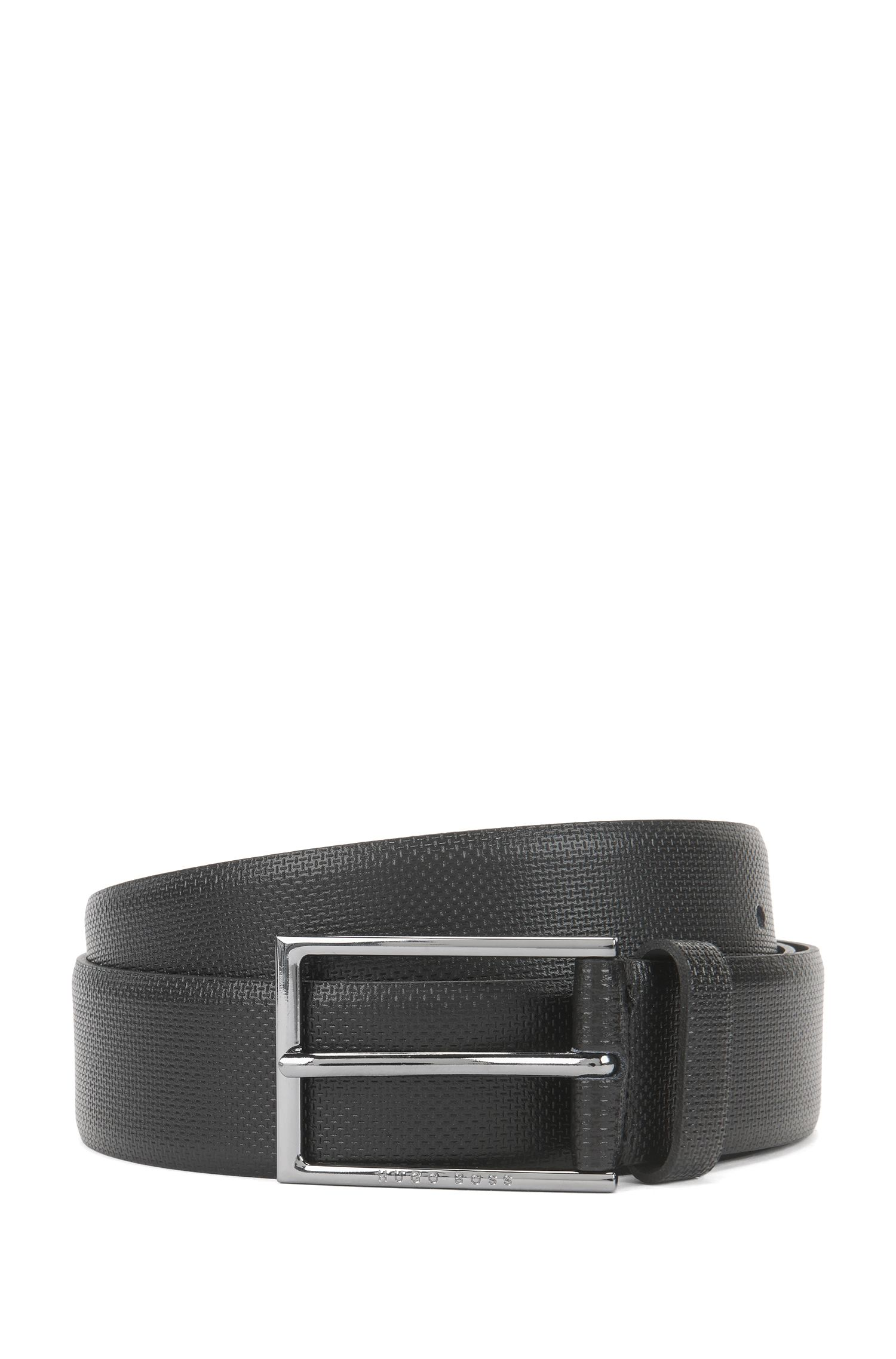 Finely textured leather belt: 'Carmello-S'