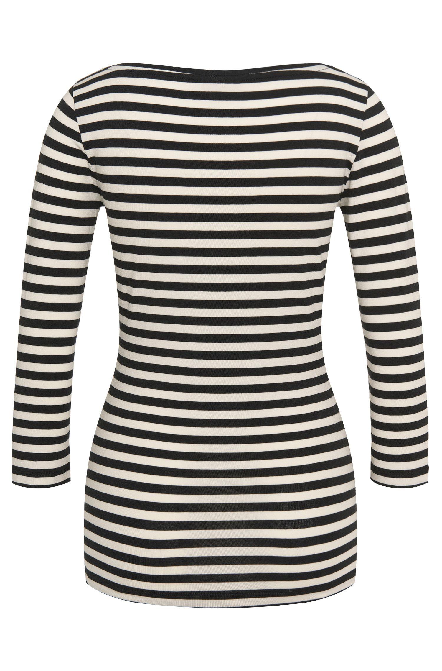 Gestreiftes T-Shirt aus elastischem Baumwoll-Mix: 'Dannala_2'