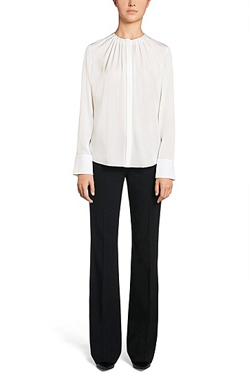 Unifarbene Regular-Fit Bluse aus Stretch-Seide: 'Banora2', Natur