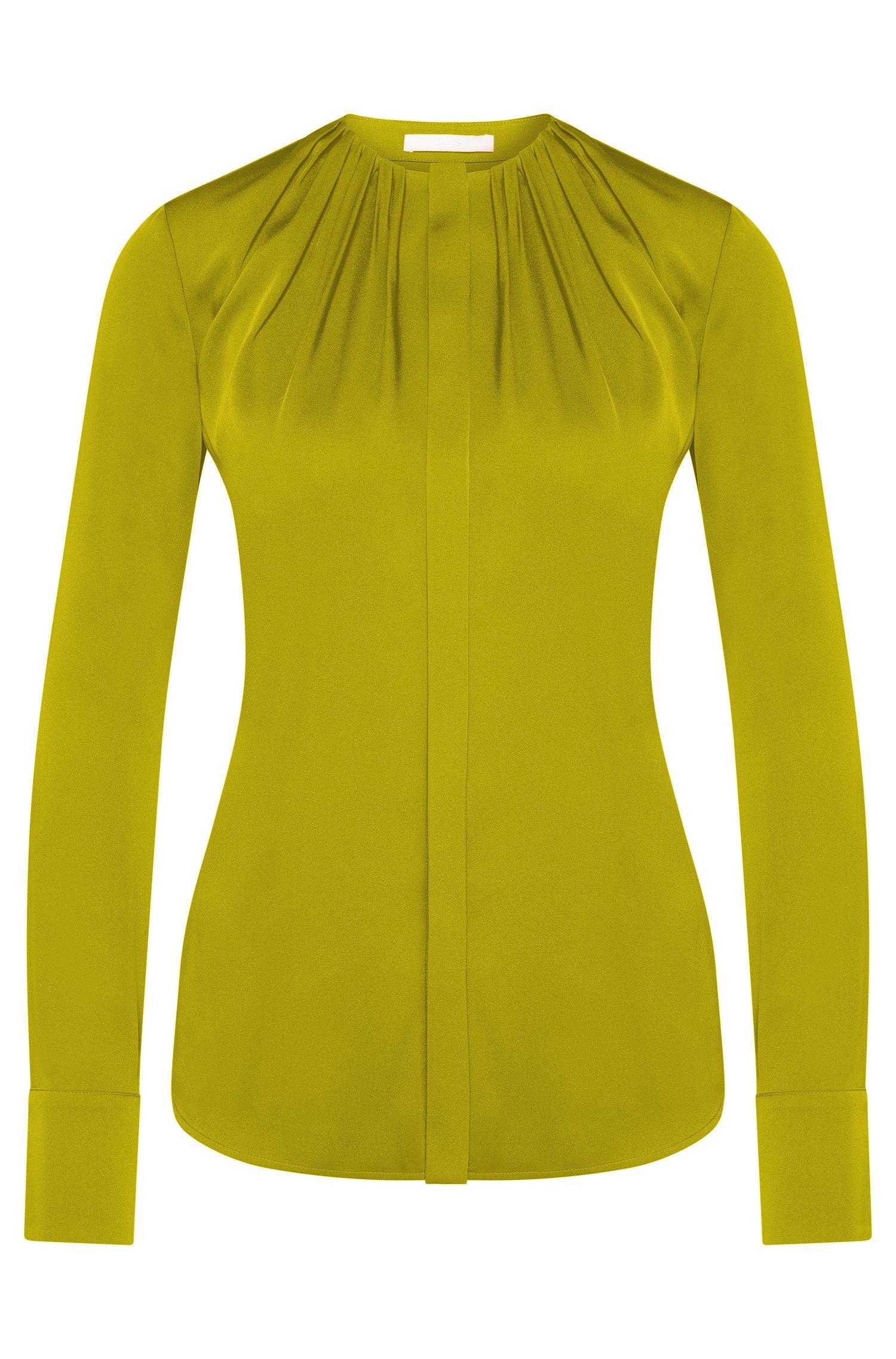 Effen regular-fit blouse van stretchzijde: 'Banora2'