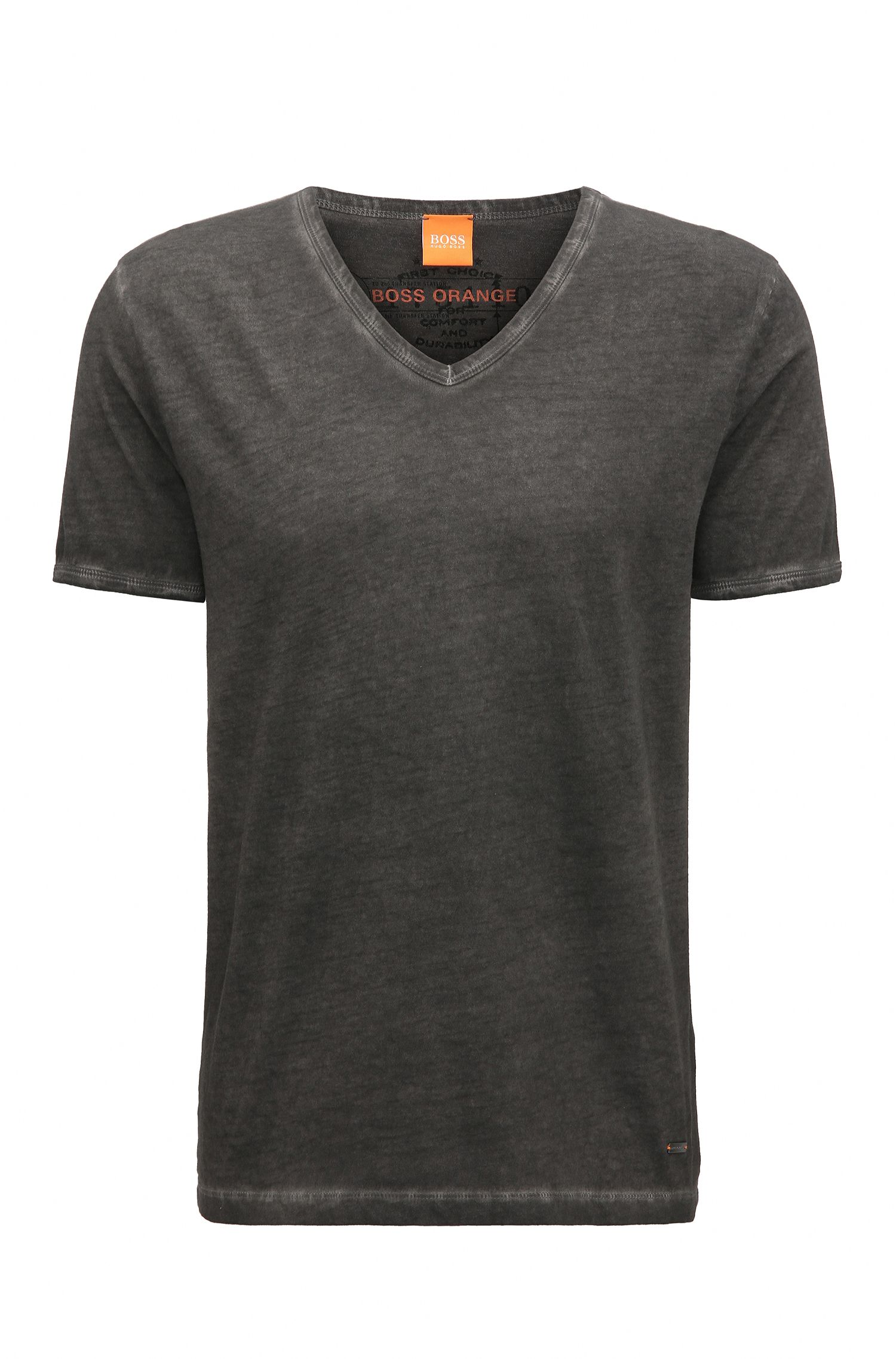 Regular-fit T-shirt van garment dyed-katoen van BOSS Orange