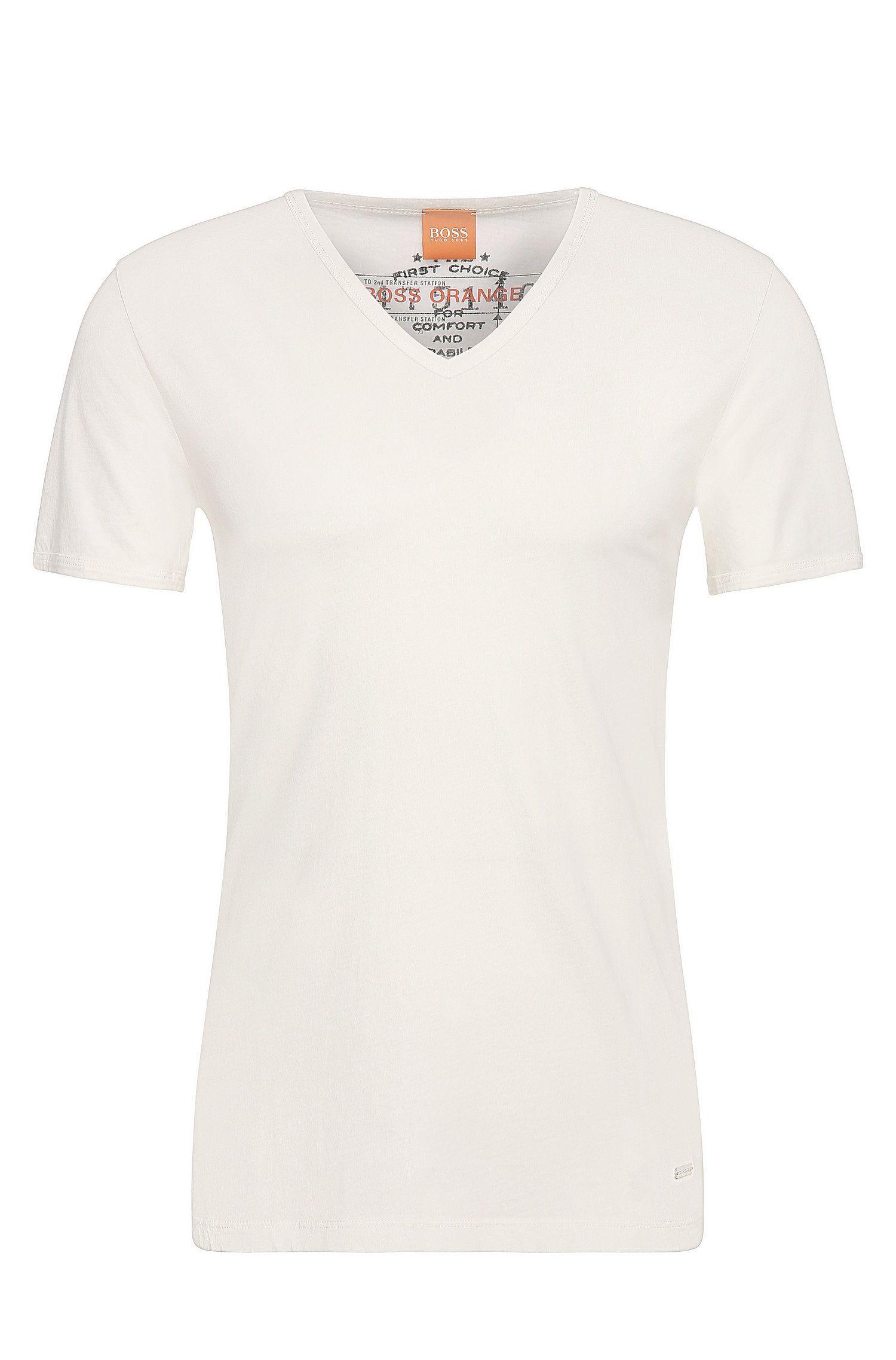 Regular-Fit T-Shirt aus stückgefärbter Baumwolle von BOSS Orange