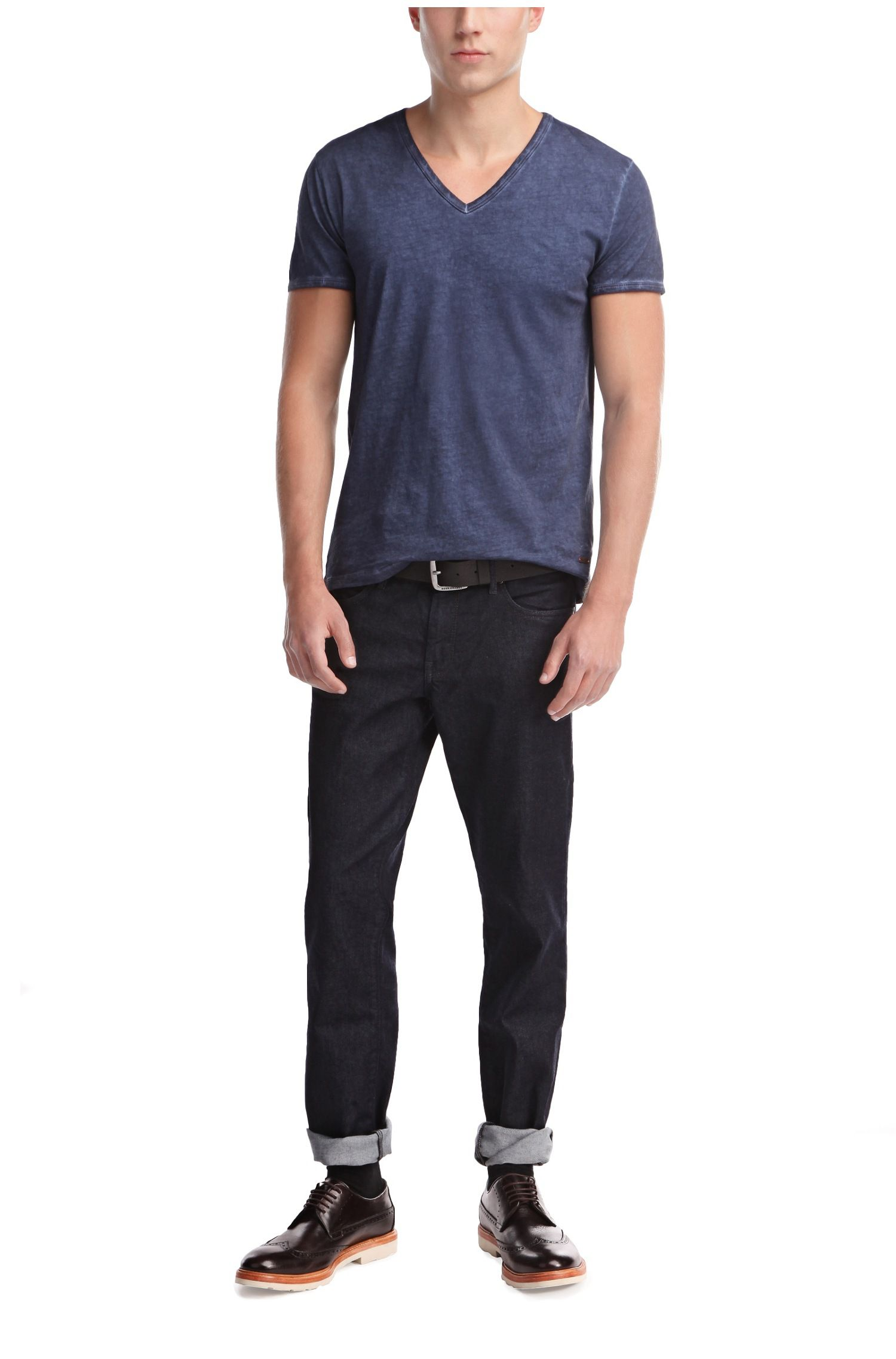 Regular-Fit T-Shirt aus reiner Baumwolle in Used-Optik: ´Toulouse`
