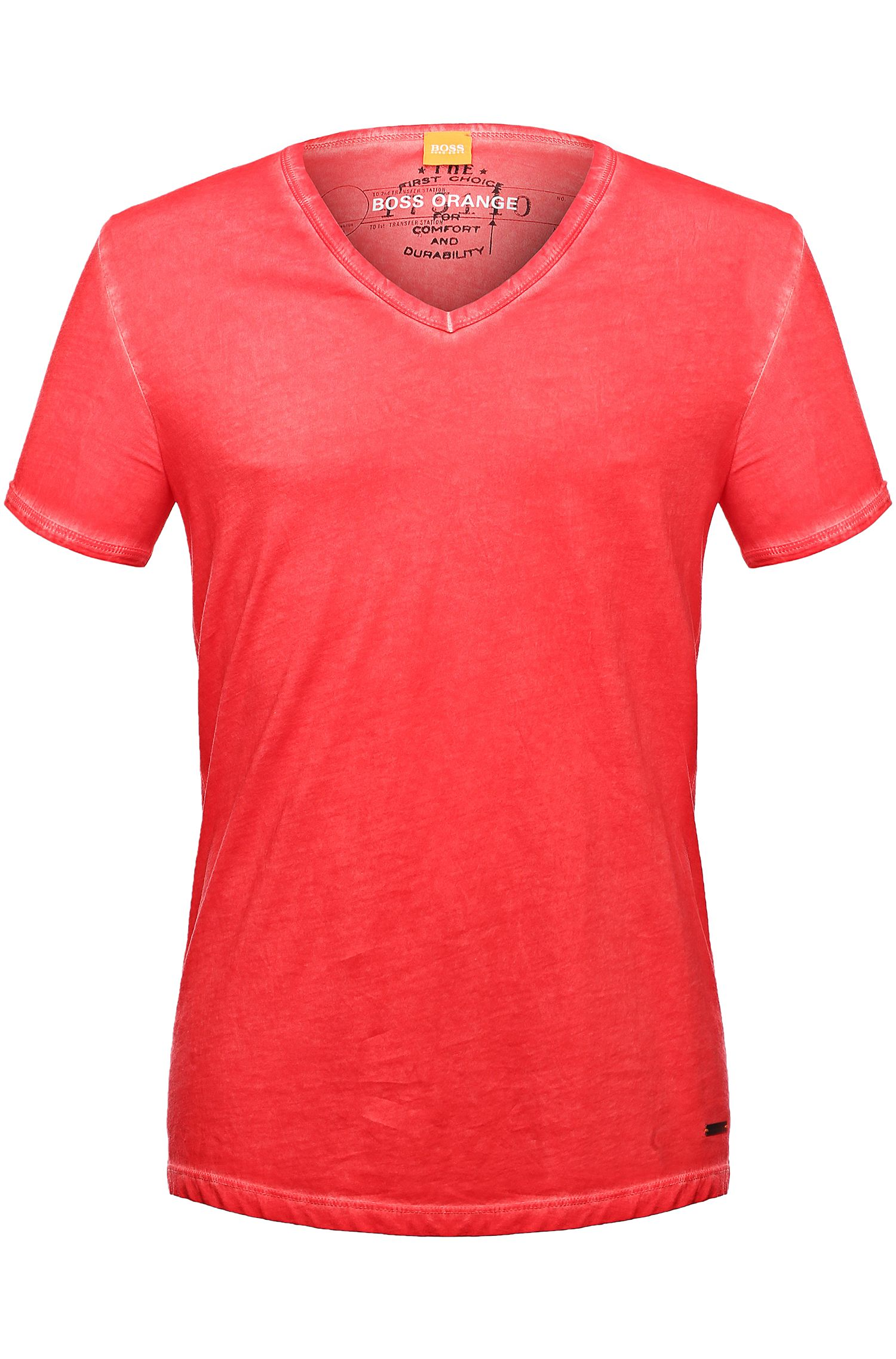 Regular-fit T-shirt in garment-dyed cotton by BOSS Orange