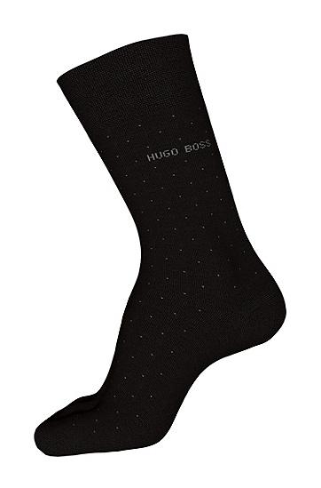 波尔卡圆点图案棉质混纺短袜:'George RS Dots',  001_黑色