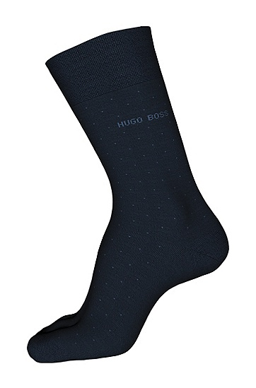波尔卡圆点图案棉质混纺短袜:'George RS Dots',  401_暗蓝色