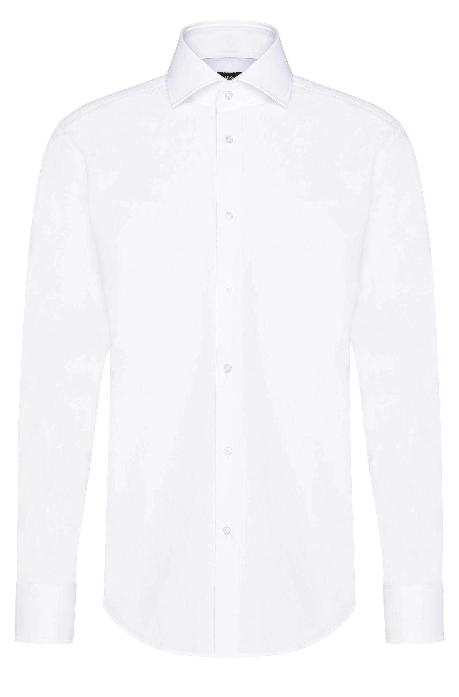 Plain regular-fit shirt in cotton: 'Gerald'