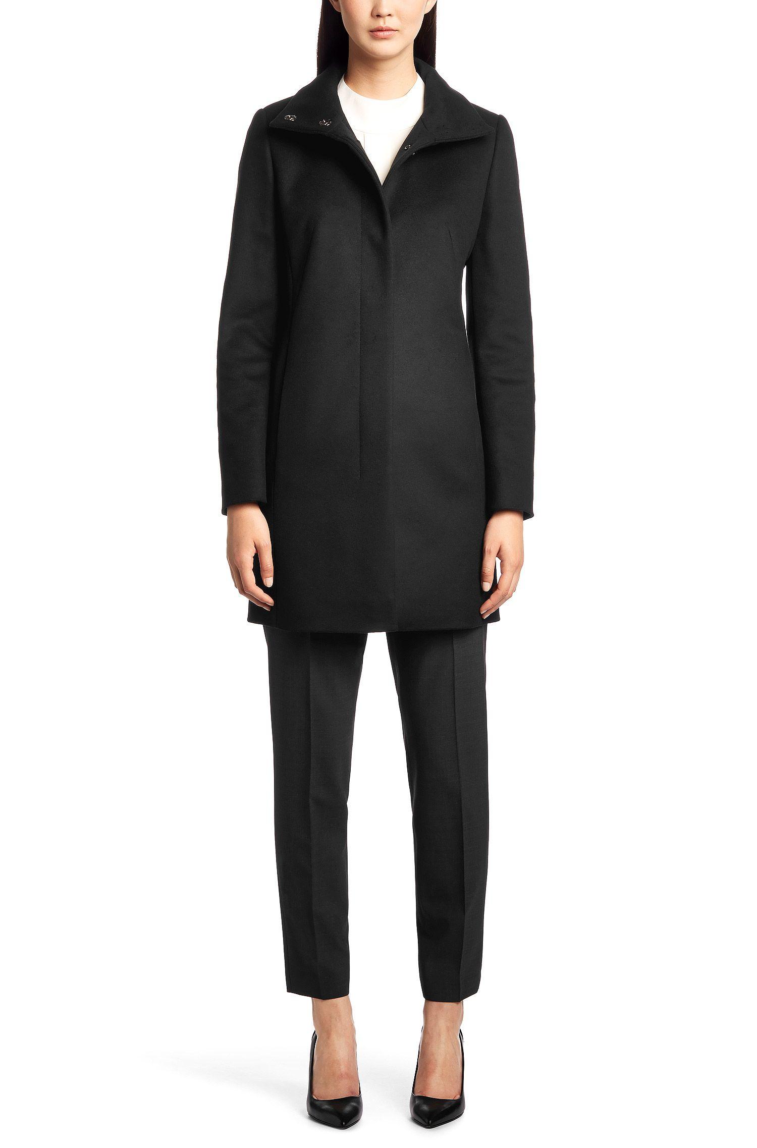 Cappotto in pelle 'Malu' in misto lana vergine